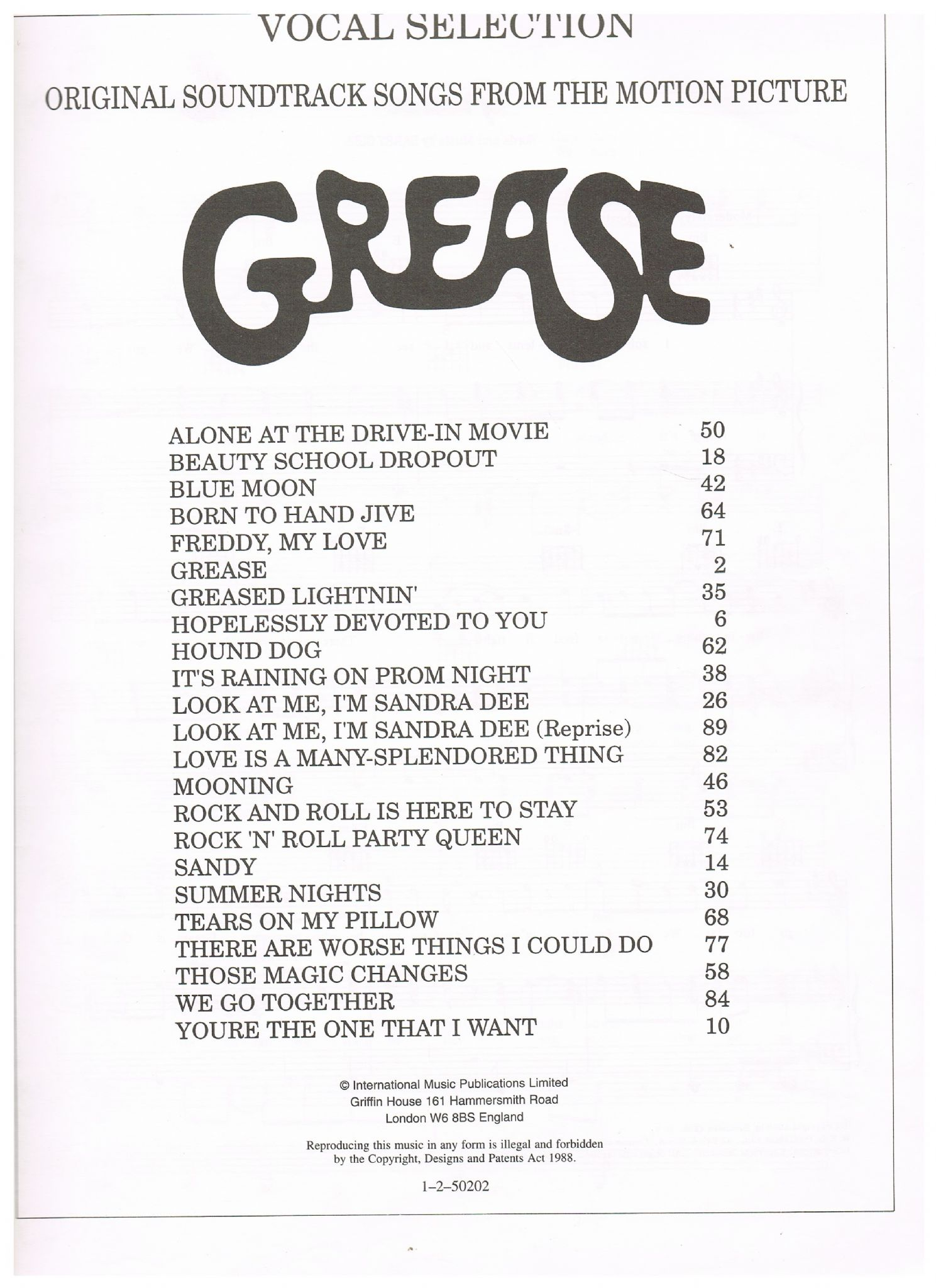 GREASE Original Soundtrack Songs from the Motion Picture Jacobs  Jim &  Casey  Warren et al
